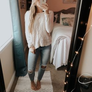 t/o Sweaters Pink Lacey Cable Knit